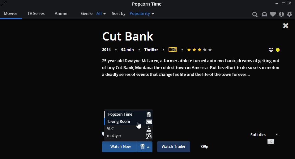 Popcorn time Chromecast streaming