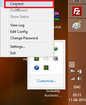 startup menu and click connect