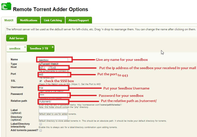 Settings for Remote Torrent Adder for Seedbox
